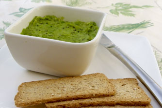 A fresh green pate, which is a popular starter - vegetarian vegan recipe